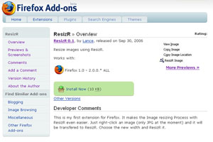 Die ResizR Firefox Extension bei Mozilla